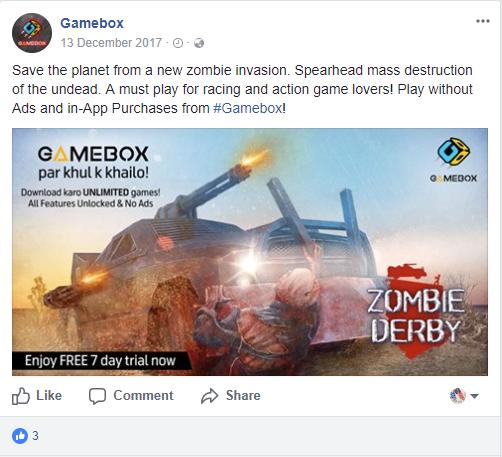 Gamebox Facebook Post